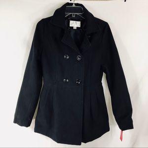 Xhilaration Pleated Pea Coat in Black Size M NWT